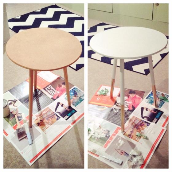 Do it yourself gold dipped table tutorial. Easy DIY! Jenniferrobertusdesign.wordpress.com