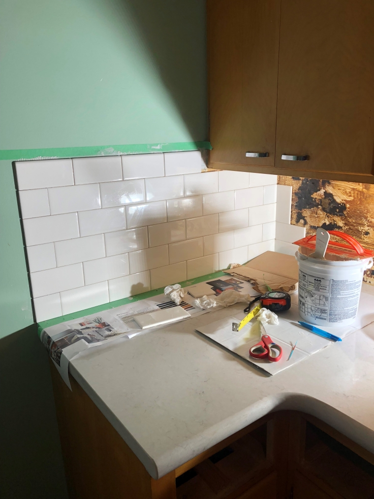 Installing a Subway Tile Backsplash | Style & the Suburbs