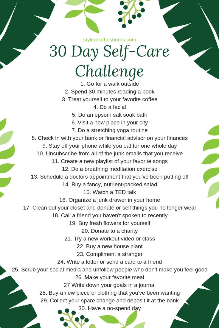 30 Day Self Care Challenge | Style & the Suburbs