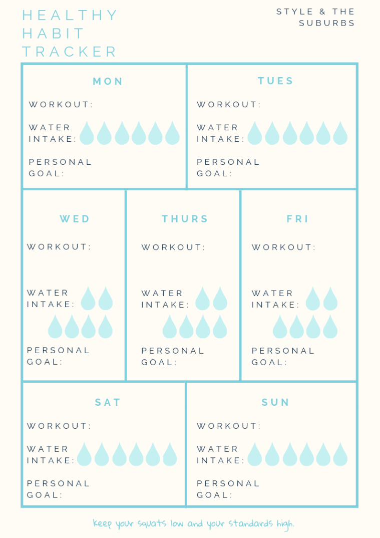 Free Printable Healthy Habit Planner | Style & the Suburbs