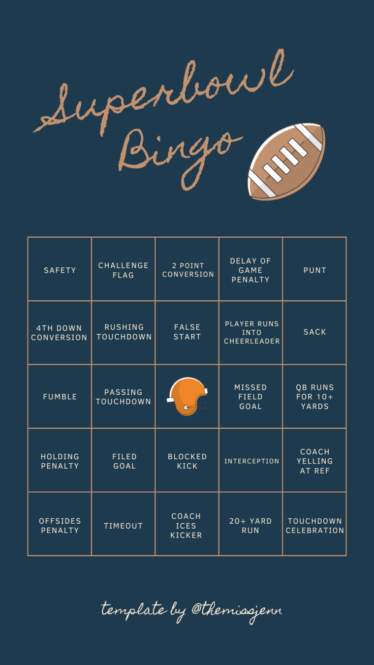 Super Bowl Bingo Printable | Style & the Suburbs